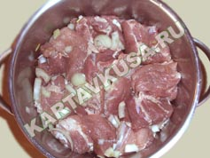 шашлык из свинины в кефире | приготовление - 3 шаг