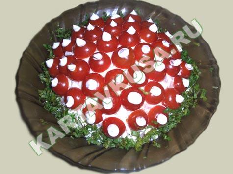салат красная поляна из ветчины и сыра - рецепт   салат красная поляна из ветчины и сыра - фото
