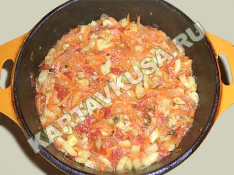 Кабачки тушеные с помидорами - калорийность, состав