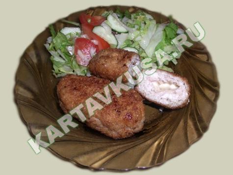 куриные котлеты, фаршированные сыром   пошаговый фото-рецепт